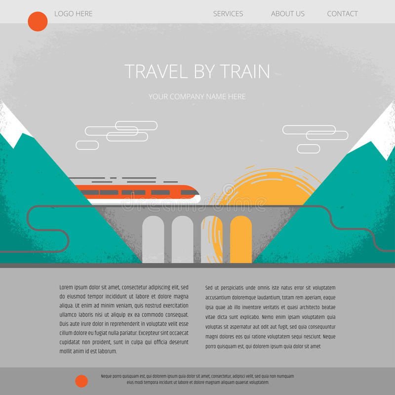 Travel Company Website Template. Travel By Train. Vector ...