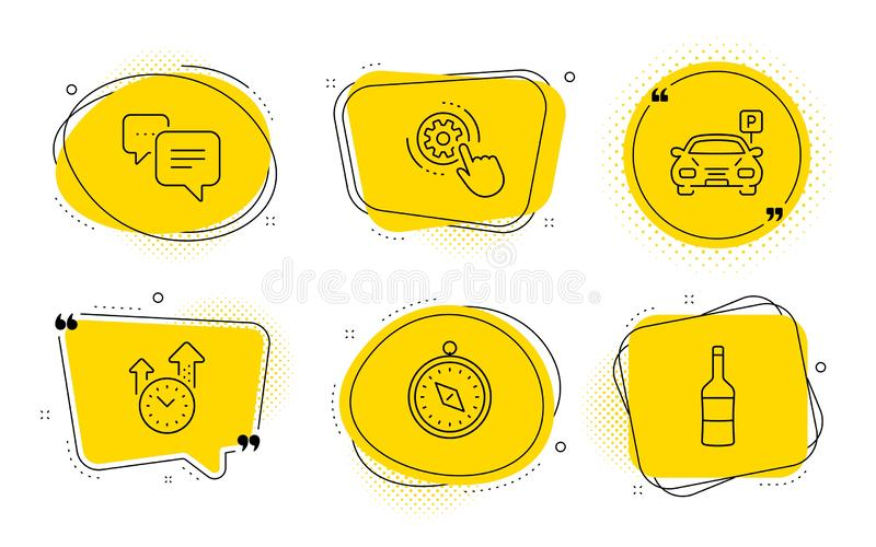 Dots message, Time management and Cogwheel settings icons set. Travel compass, Parking and Wine signs. Vector. Travel compass, Parking and Wine signs. Chat vector illustration