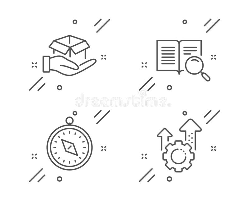 Travel compass, Search text and Hold box icons set. Seo gear sign. Vector vector illustration