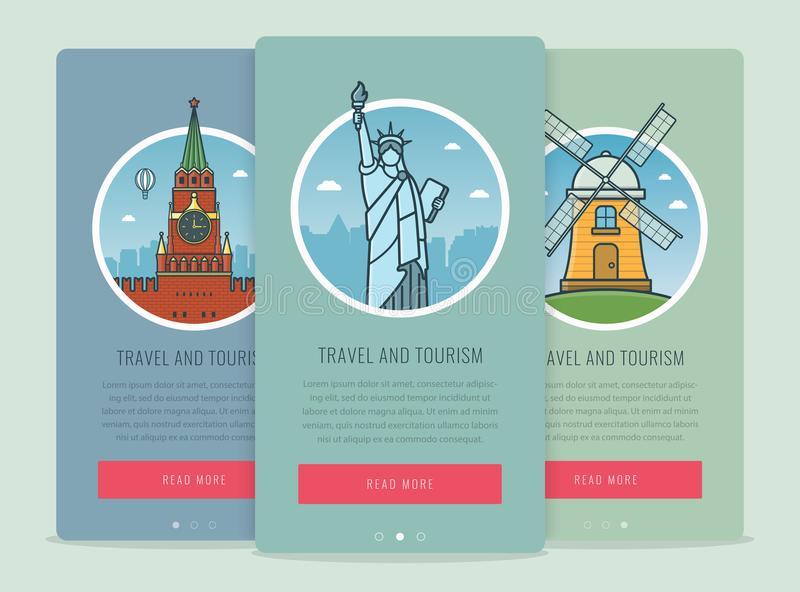 Travel composition with famous world landmarks Moscow, New York, Kinderdijk. Travel and Tourism. Concept website royalty free illustration