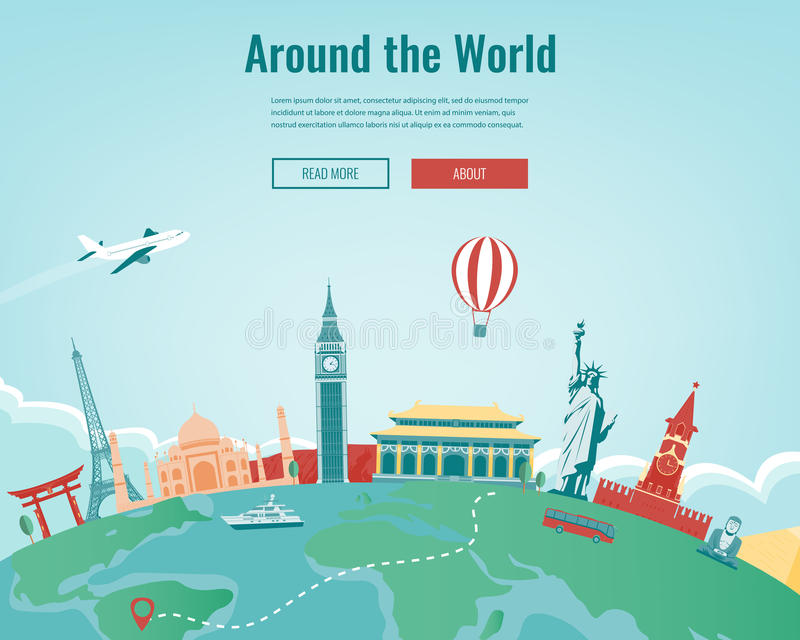 Travel composition with famous world landmarks. Travel and Tourism. Concept website template. Vector. royalty free illustration