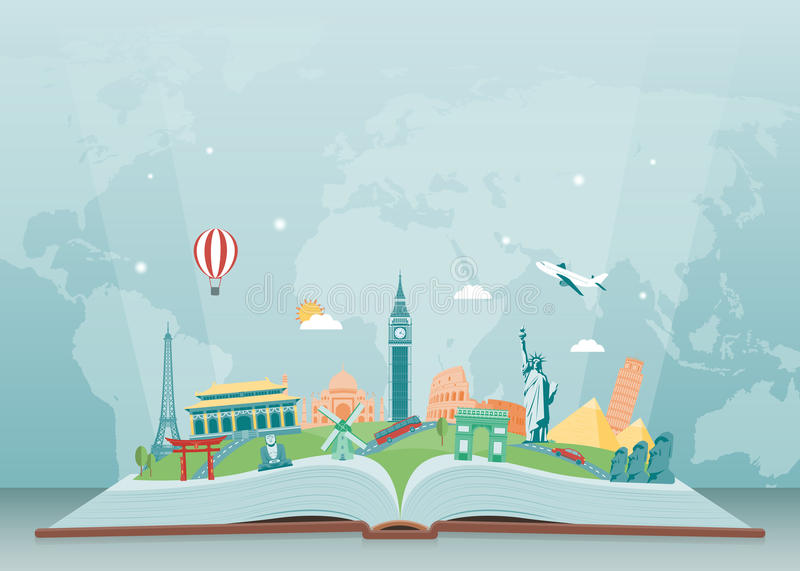 Travel composition with famous world landmarks. Travel and Tourism. Vector royalty free illustration