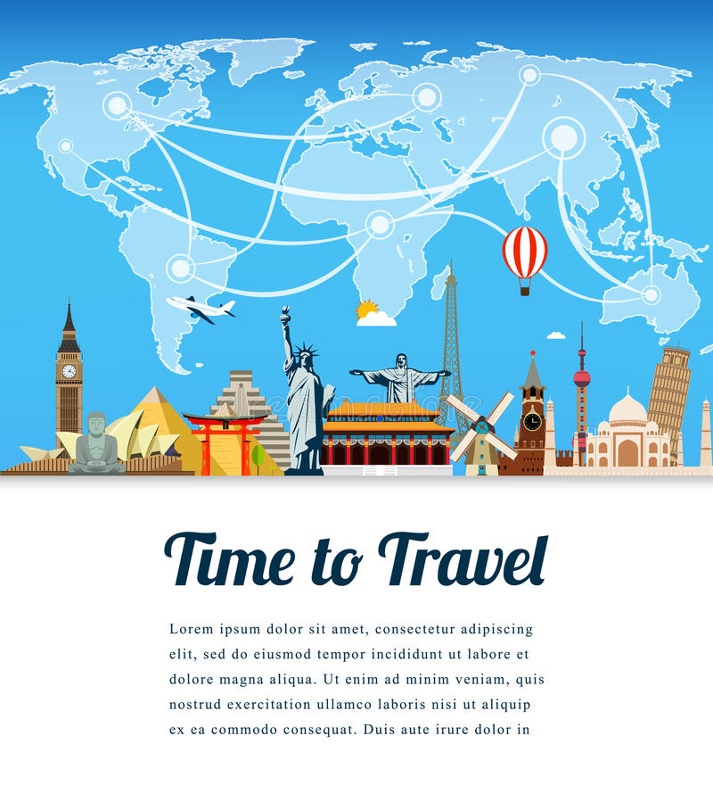 Travel composition with famous world landmarks. Travel and Tourism. Vector. Modern flat design. stock illustration
