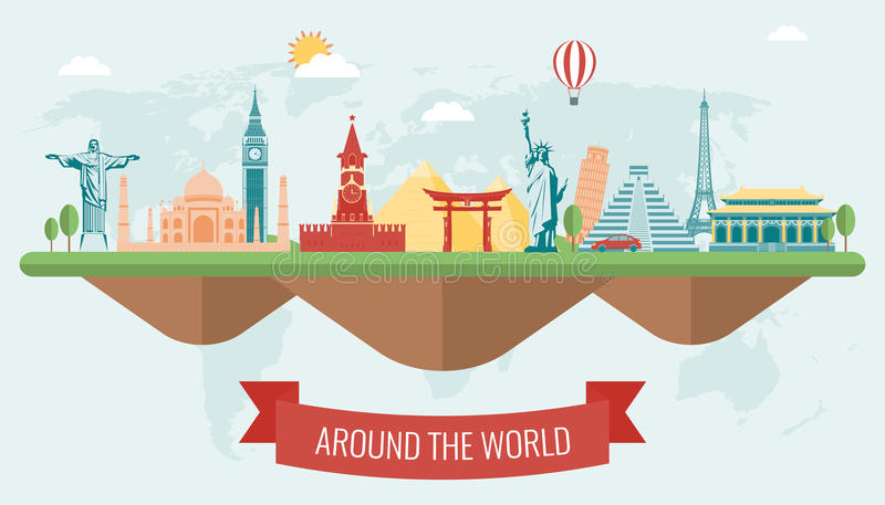 Travel composition with famous world landmarks. Vector vector illustration