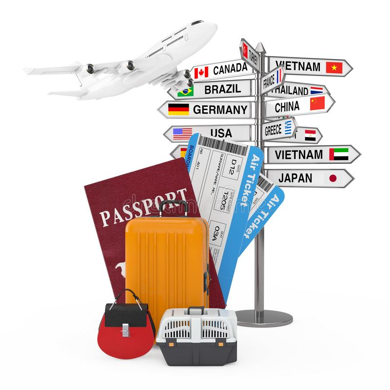 Travel Concept. Airplane over Signpost with Various Countries Names and Flags near Passport, Airline Boarding Pass Tickets and royalty free illustration