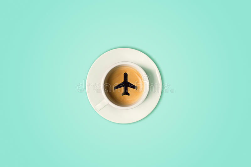 The travel concept. The airport coffee cup. Top view stock photo