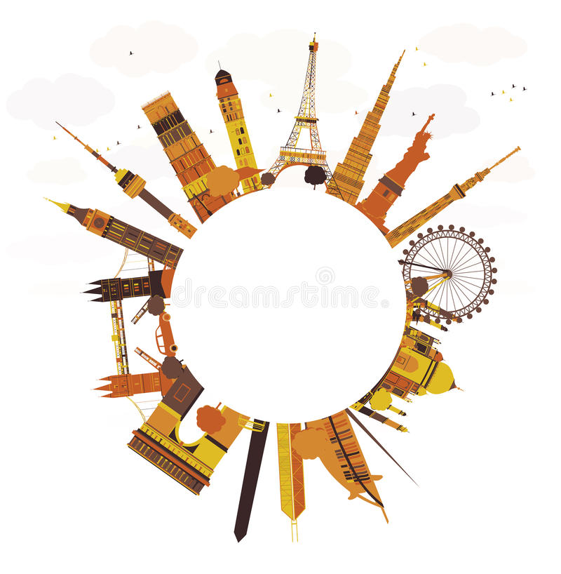 Travel concept around the world. Famous international landmarks stock illustration