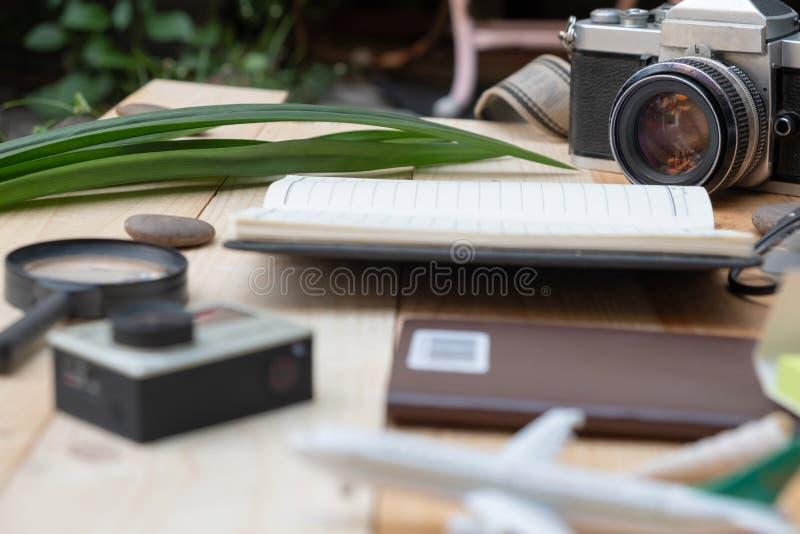 Travel concept styles closeup with camera stock photos
