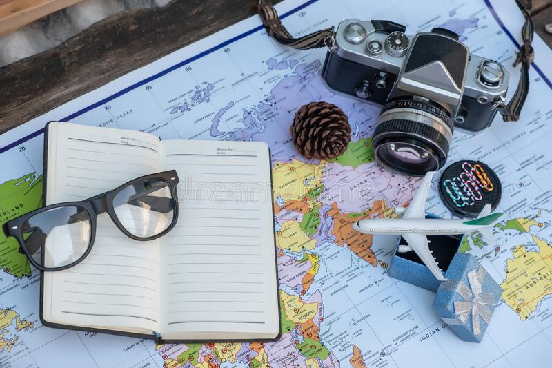 Travel concept flat lay styles on top view stock photo