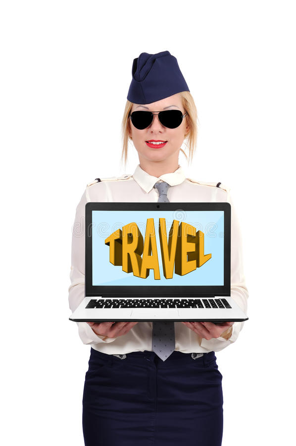 Travel concept. Flight attendant holding laptop with travel symbol stock photos