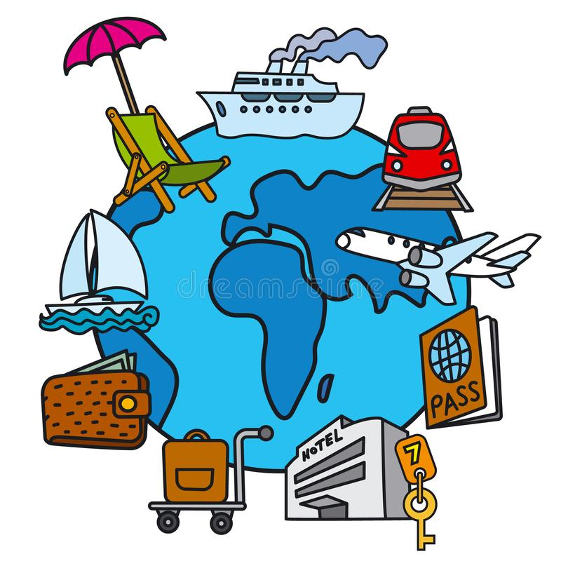 Travel concept icon. Illustration of travel concept icon of resort, cruise and journey stock illustration