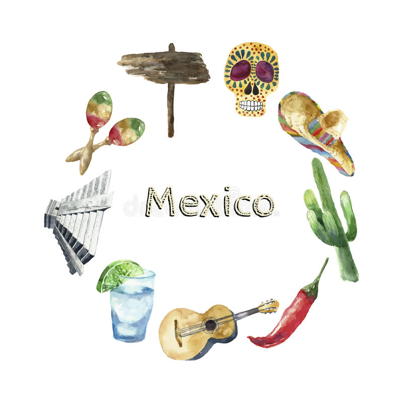 Travel Concept Mexico Landmark Watercolor Icons Design. royalty free illustration