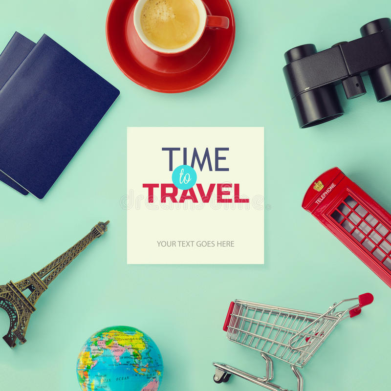 Travel concept mock up design. Objects related to travel and tourism around blank paper with retro filter effect. View from above stock images