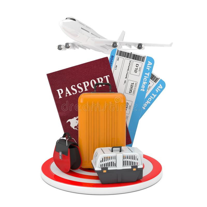 Travel Concept. Modern Passanger Airplane, Luggage with Passport and Air Tickets over Target Circle Plate. 3d Rendering royalty free illustration