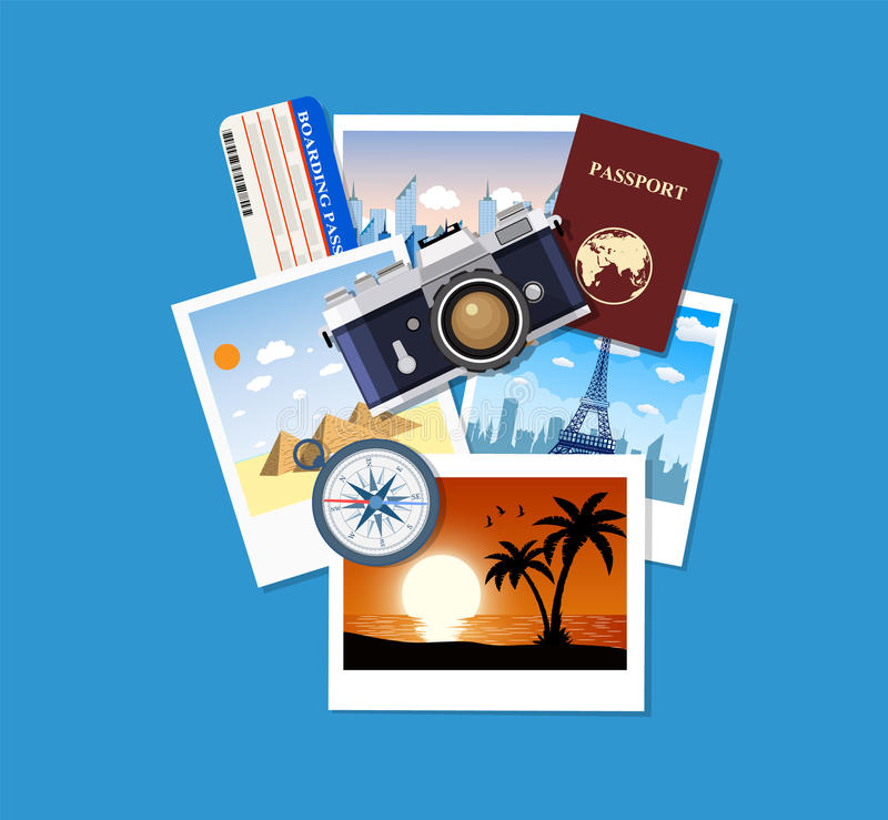 Travel concept. Photo camera and photos, vector illustration