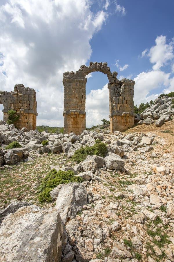 Travel concept photo. Uzuncaburc historical ancient city Mersin / Turkey.  royalty free stock photography