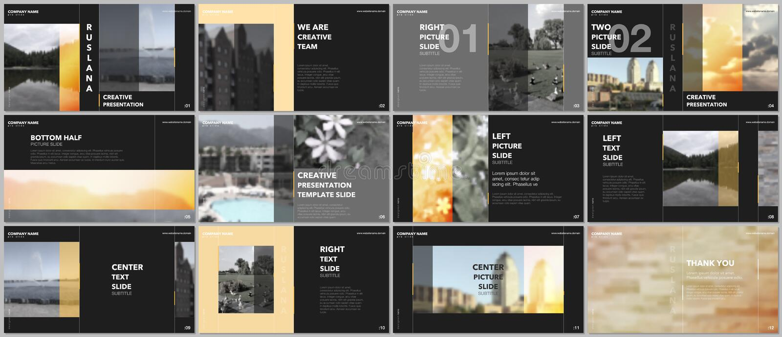 Travel concept presentations design, portfolio vector templates with graphic elements on black. Multipurpose template royalty free illustration