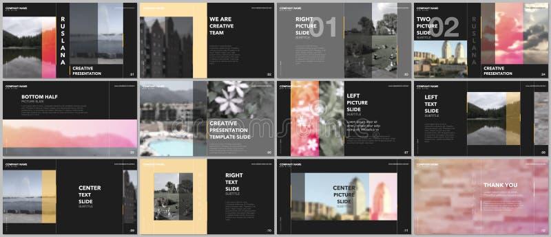 Travel concept presentations design, portfolio vector templates with graphic elements on black. Multipurpose template stock illustration