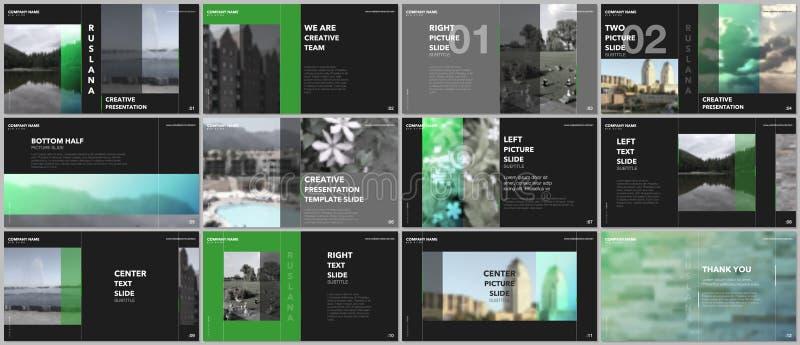 Travel concept presentations design, portfolio vector templates with graphic elements on black. Multipurpose template vector illustration