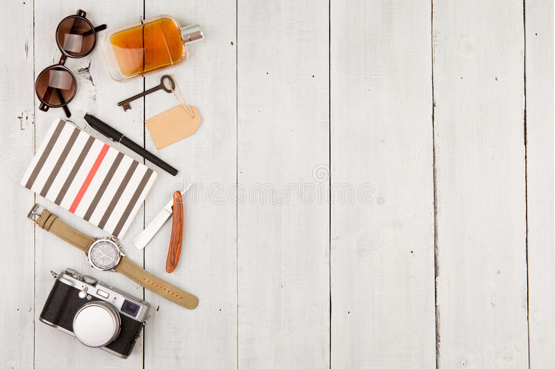 Download Travel Concept - Set Of Cool Stuff With Camera And Other Things On Wooden Table Stock Image - Image: 74281499