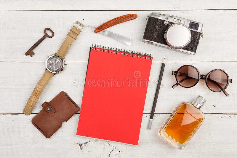 Download Travel Concept - Set Of Cool Stuff With Camera And Other Things On Wooden Table Stock Image - Image: 74281717