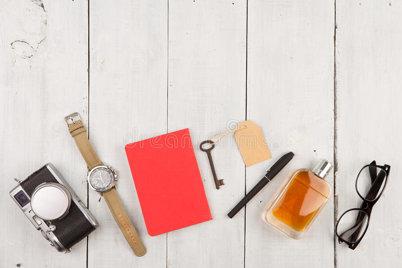 Download Travel Concept - Set Of Cool Stuff With Camera And Other Things On Wooden Table Stock Photo - Image: 78825032
