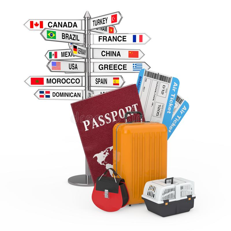 Travel Concept. Signpost with Various Countries Names and Flags near Passport, Airline Boarding Pass Tickets and Ready to Fly. Luggage on a white background 3d royalty free stock images