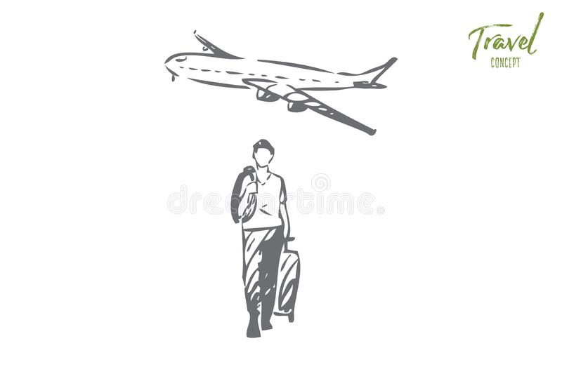 Travel concept sketch. Isolated vector illustration vector illustration