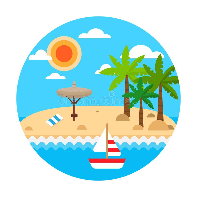 Travel concept. Summer holiday on sand beach. Vector summer travel banner with waves, palm, straw umbrellas, sail ship vector illustration