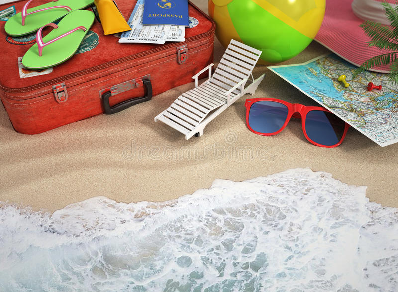 Travel concept. Sunbed, sunglasses, world map, beach shoes, suns royalty free stock images