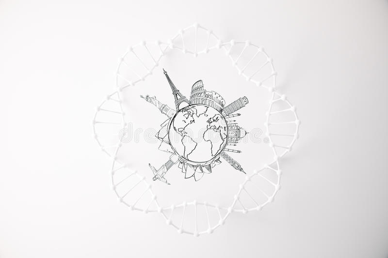 Travel concept. Top view of abstract DNA circle with traveling sketch on bright background. Travel concept royalty free illustration