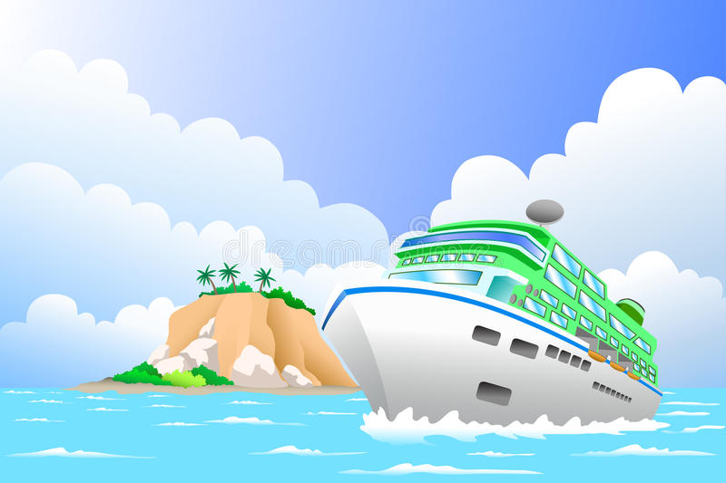 Travel concept. A vector illustration of luxury cruise ship in the sea for travel concept royalty free illustration