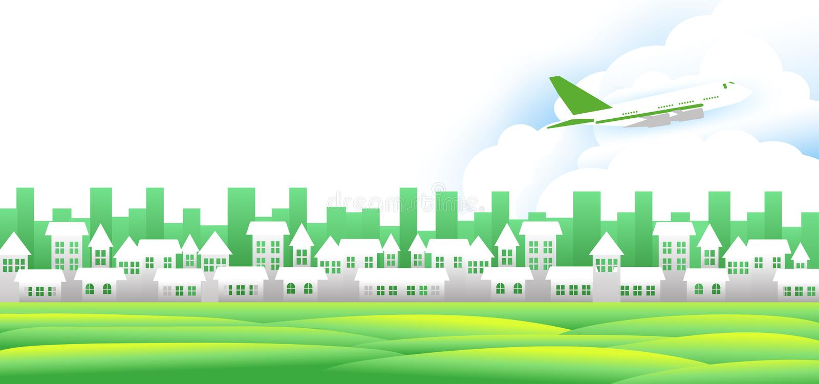 Travel concept, A white village with a green lawn with Planes in the sky and also a tourist attraction. Travel concept, A white village with a green lawn with stock illustration