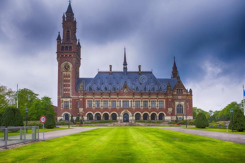 Travel Consepts. Peace Palace in Den Haag Hague. As a Symbol of International Court of Justice. HDR Image. Horizontal Image Composition stock photography