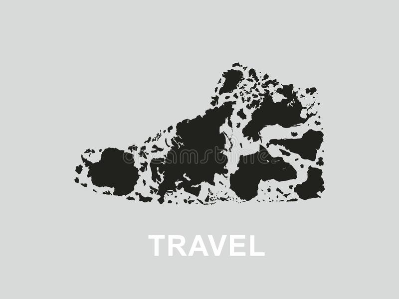 Travel. Continents and islands of the planet in the form of the shoe. Vector format