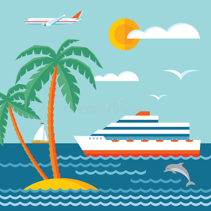 Free Travel Cruise - Vector Concept Illustration In Flat Style Design. Cruise Liner. Stock Photo - 50906950
