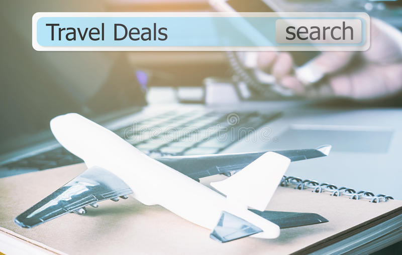 Travel deals in a search box for travel agency. Search Travel deals in a search box for travel agency stock photo