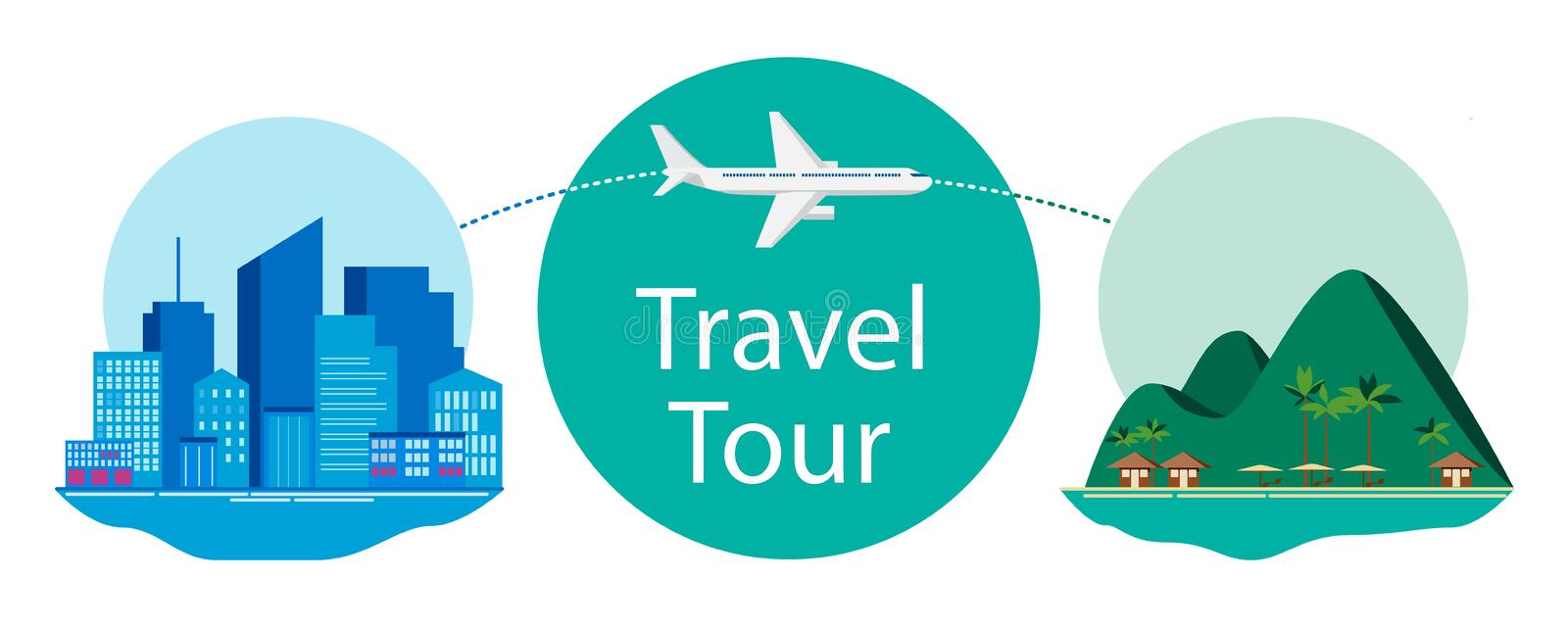 Travel design concept. Flying airplane from city to island stock illustration