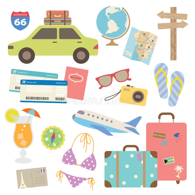 Travel Design Elements. Illustration of design elements related to travel and vacation