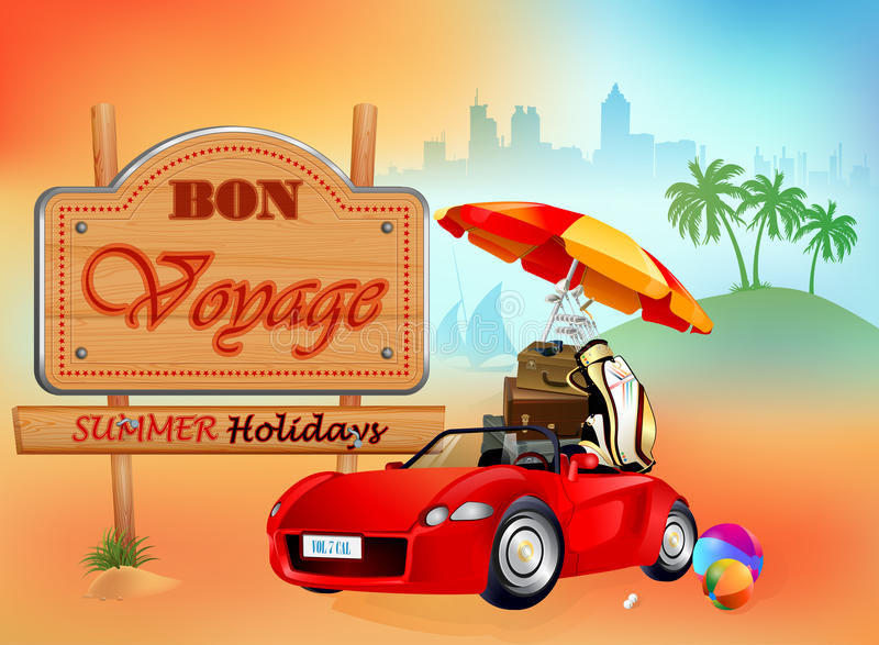 Travel design template with Car loaded with luggage, stopped in front of wooden sign vector illustration