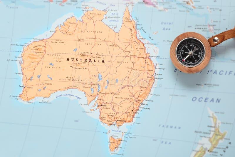 Travel Destination Australia Map With Compass Stock Photo Image