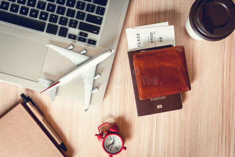 Travel destination explore planning on vacation trip., Layout of journey accessory holiday scheduling in summer. World itinerary. Lifestyle and package tour royalty free stock photo