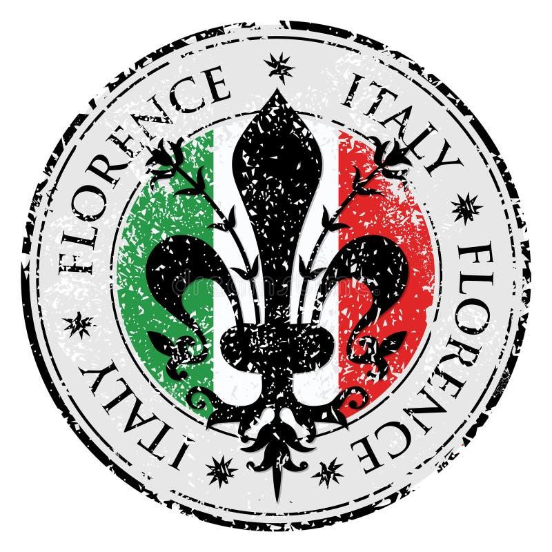 Travel destination grunge rubber stamp with symbol of Florence, Italy inside,the fleur de lis of Florence stock illustration