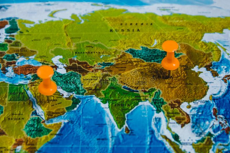 Travel destination points on world map indicated with colorful download travel destination points on world map indicated with colorful thumbtacks and shallow depth of field gumiabroncs Choice Image