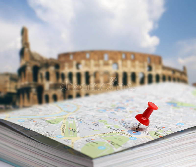 Download Travel Destination Rome Map Push Pin Blur Stock Image - Image of blurred, location: 28571389