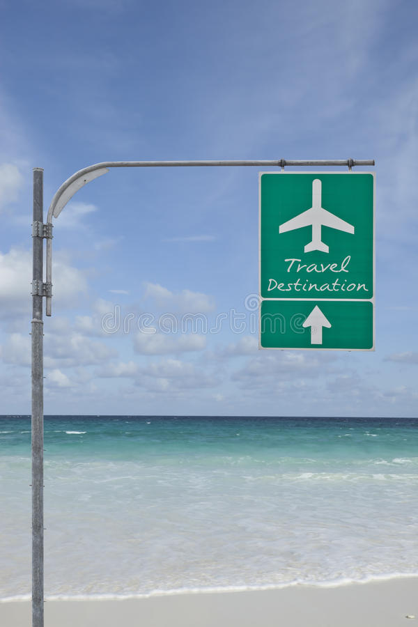 Travel Destination Signboard Sky And Sea Back Stock Images