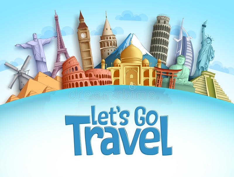 Travel destination vector background and template design with travel destinations and famous landmarks. And attractions for tourism. Let`s go travel vector vector illustration