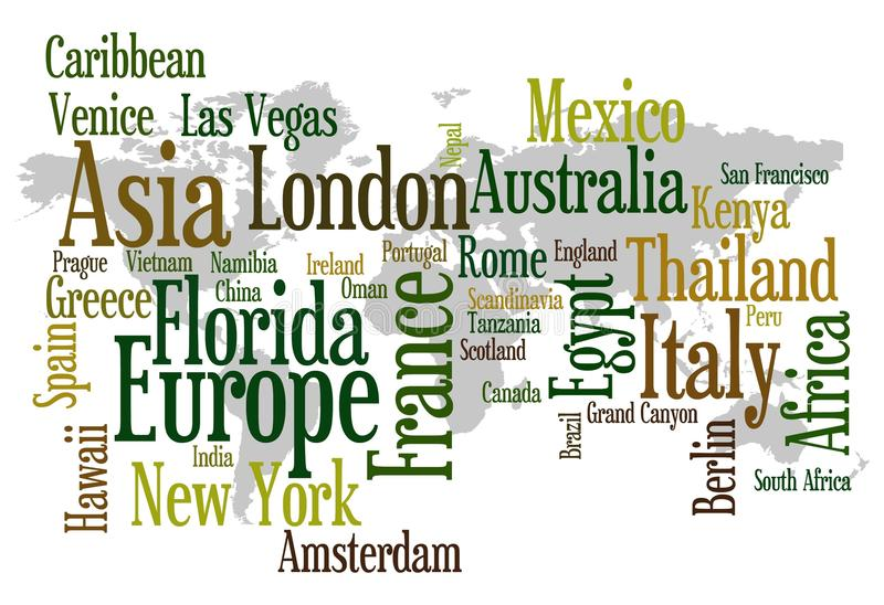 Travel destinations. Overview of the most popular travel destinations in the world vector illustration