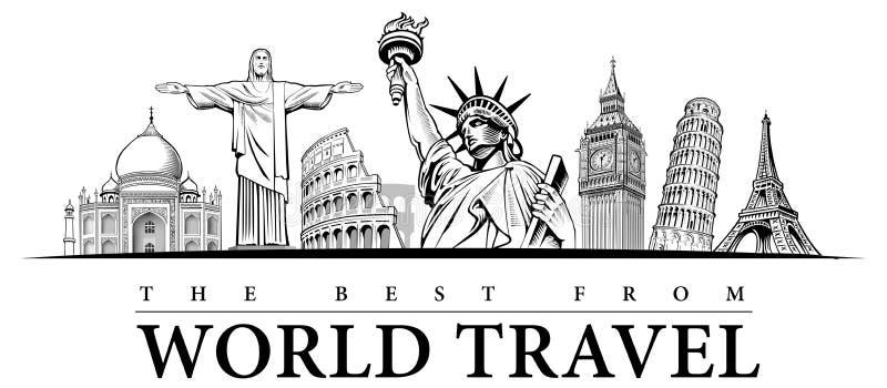 Travel destinations-famous placesNYC, London Big Ben, Rome-Coliseum, Paris-Eiffel Tower, Rio de Janeiro-Jesus Statue, NYC-Statue o royalty free illustration
