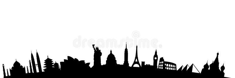 Travel destinations landmarks stock illustration
